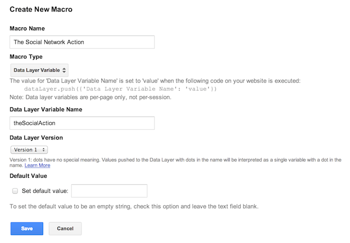 google tag manager action macro