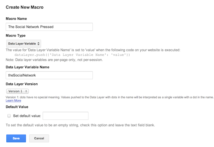 google tag manager social source macro