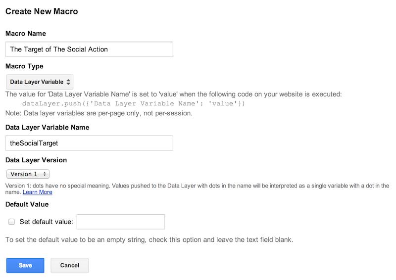google tag manager social target macro