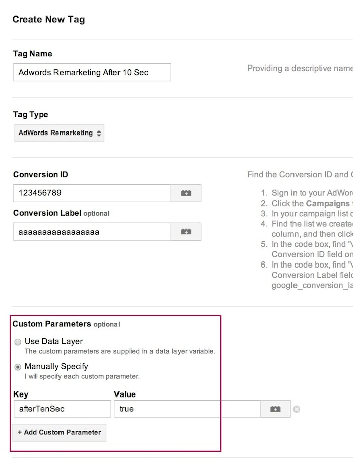 google tag manager adwords remarketing tag