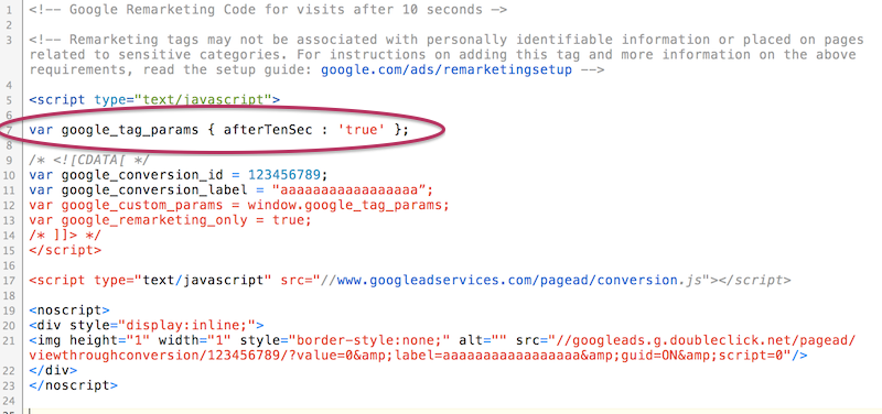 remarketing with adwords code