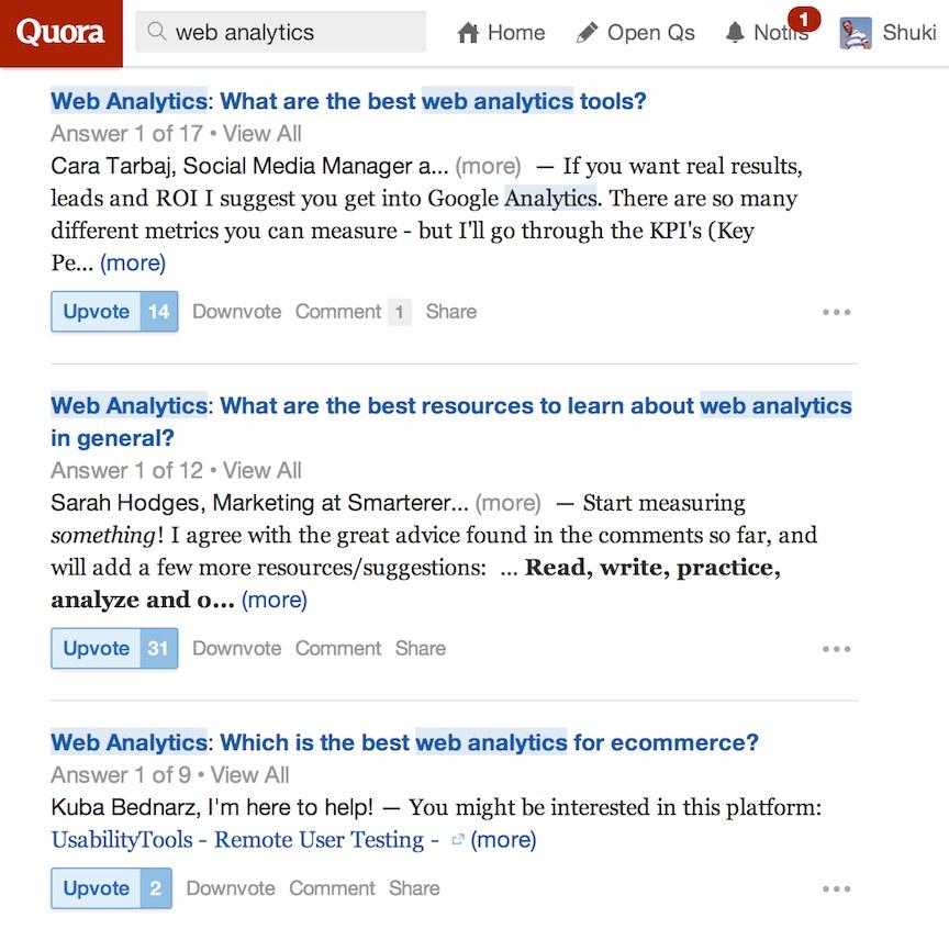 quora web analytics