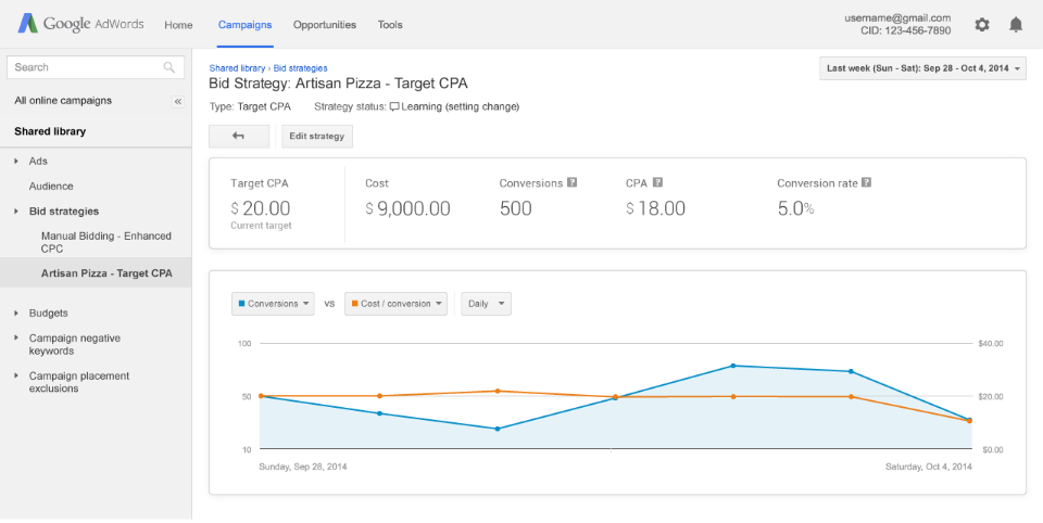 bidding strategy adwords