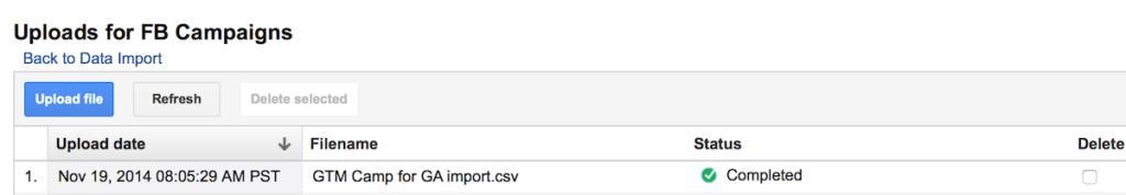 google analytics data import upload