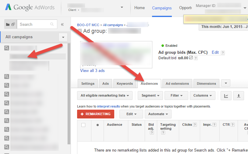 Select Adgroup And Audiences Tab