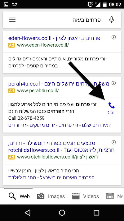 google adwords call extension