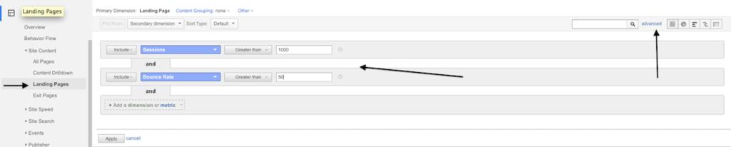 google analytics weighted sort hidden feature  filter