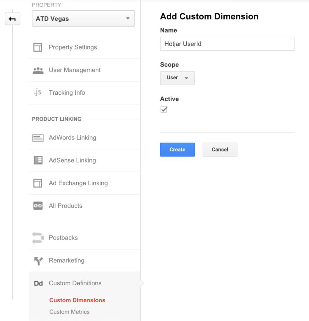 hotjar custom dimension google analytics - 1