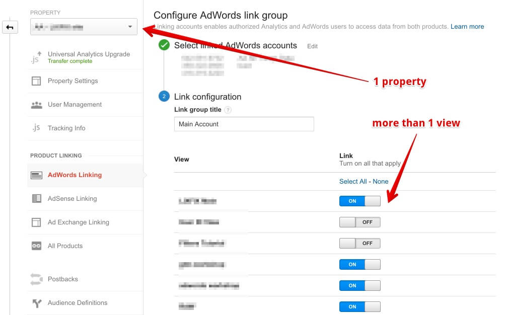 Google Analytics adwords linking