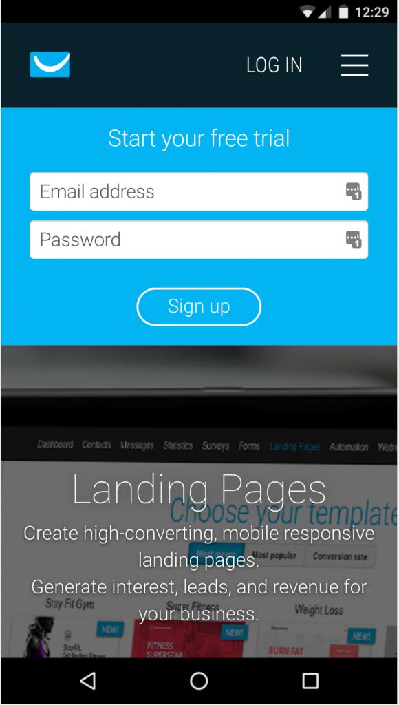 get response landing page mobile