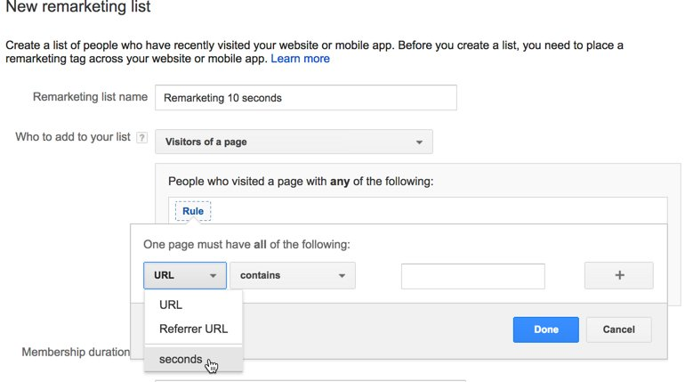 adwords 10 seconds remarketing