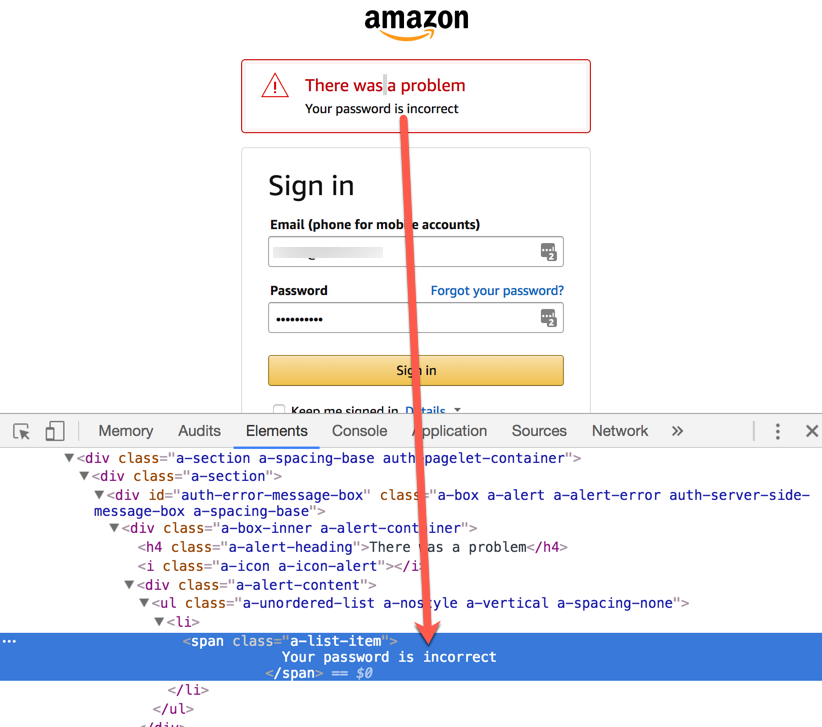 amazon sign in error