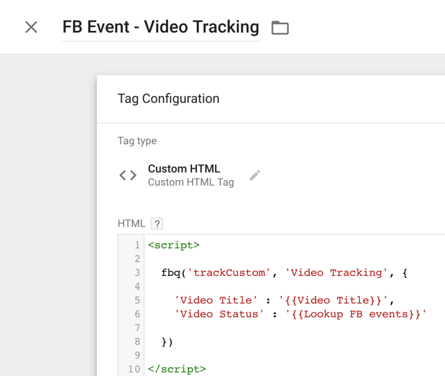 FB Event - custom HTML